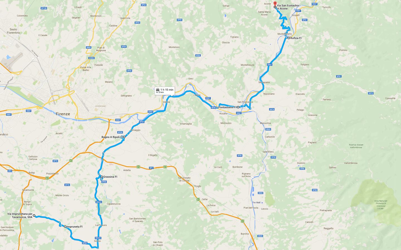 Motopenna - Itinerario 2016 - Seconda tappa: da Bagnolo a Acone (clicca la mappa per ingrandire)